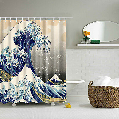 Shower Curtain Polyester Bath Shower Divider Sea Wave Print Drapes &12 Hooks