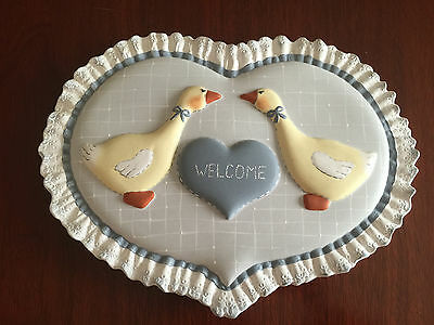 Country Welcome Wall Plaque, geese, light blue & white, handpainted ceramic ooak
