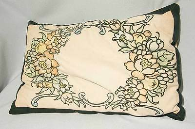 Large Vintage Arts Crafts Era Linen Embroidered Pillow, Painted Florals, Signed