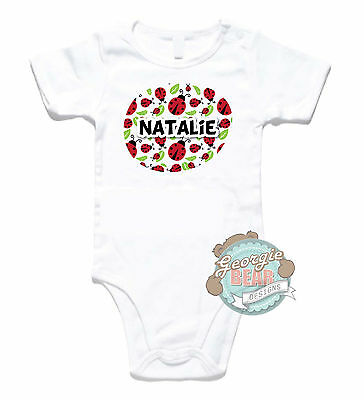 Ladybirds! Personalised and Custom printed baby romper, onesie. Customisable!