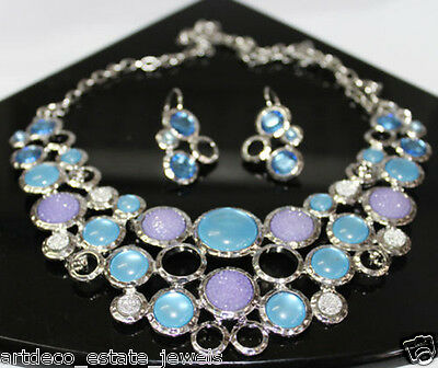 Gemstone Metal Necklace With Earring Set