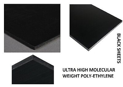 "UHMW Polyethylene Plastic Sheet BLACK 1/4"" x 12"" x 24"" Machine Mill Plate Mold"