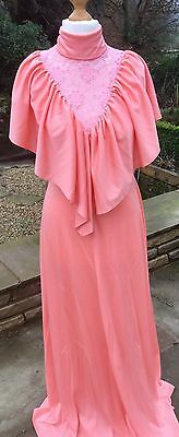 Vintage 70S Beautiful Peach Dolly Hippy  Boho 30S Prairie Maxi Dress 10-12