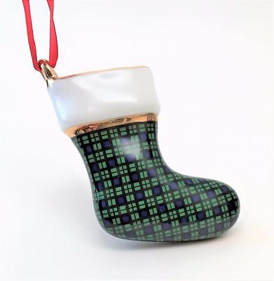 Beautiful Porcelain Gold Trimmed Green Plaid Stocking Christmas Ornament