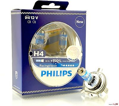 Philips Racing Vision H4 12V 60/55W P43t +150% 2 Stück Halogenlampe NEU SALE