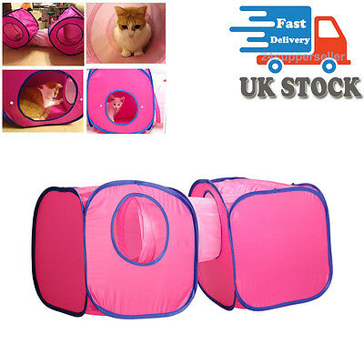 2 Cube + 1 Tunnel Combinations Cat Pet Dog Kitten Play Fun Toy Pop Up Tent Set