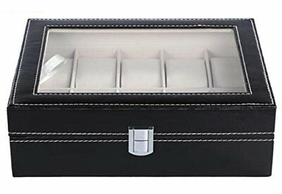 10 Grid Slots Watch Box Glass Top Display Jewelry Organizer Storage Leather Case