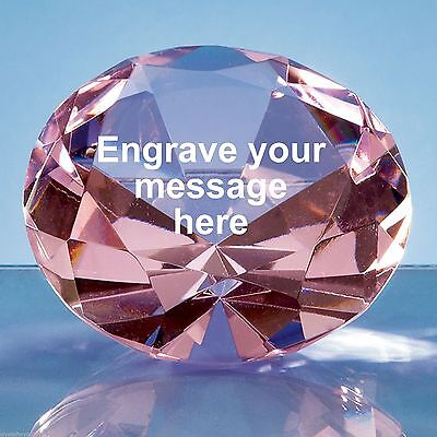 Personalised Engraved Pink Crystal Diamond Paperweight Anniversary Gift