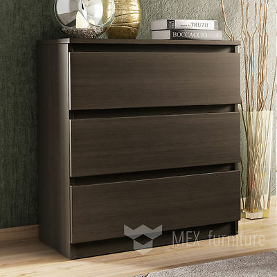 Modern Wenge Chest of Drawers 3 Drawer Bedroom Furniture Cabinet   Free Shipping