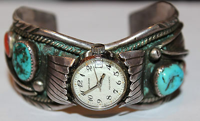 *Vintage* Native American Watch w/ Sleeping Beauty Turquoise & Coral, 68.6g
