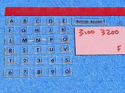 Wurlitzer 3100 3110 3200 3210 Selector Button Letter & Number Inserts