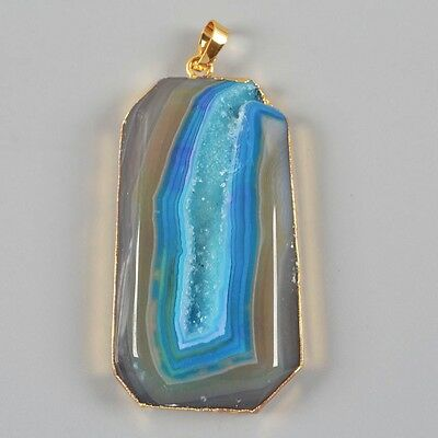 Blue Agate Druzy Geode Pendant Bead Gold Plated B020195