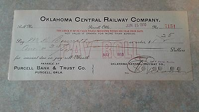 OKLAHOMA CENTRAL RAILWAY CO. Check  -  Purcell 1910