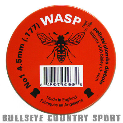 Wasp Air Rifle Pellets No1 Red Tin 500 4.5mm Domed .177 Field Target Hunting