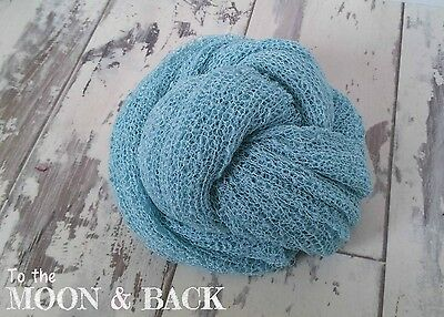 Baby Blue Newborn Knit Stretch Textured Rayon Wrap  Baby Photo Photography Prop