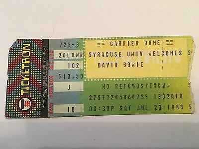 1983 DAVID BOWIE Concert Ticket Stub July 23 Carrier Dome Syracuse University NY