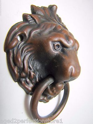 Antique Figural Lions Head Architecutral Hardware decorative drawer pull brnz cp