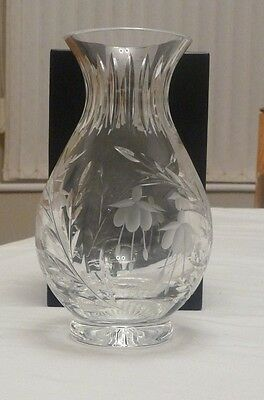 "Stuart Crystal 8"" Cascade Chloe vase Fucshia Design in Original Box"