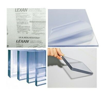 "Clear MR-10 Lexan Polycarbonate Scratch-Free Plastic Sheet 3/16""x12""x24"" (Qty:2)"