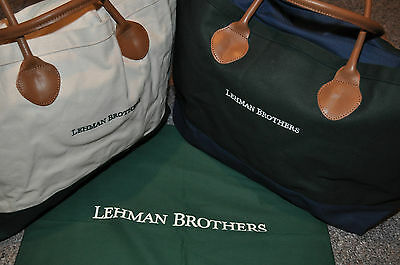 Lehman Brothers ~ Dual Canvas Totes ~ Carry All Bag ~ Leather Handles ~ New!