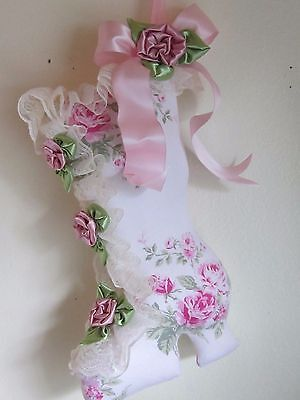 CoLLecTiBLe SHABBY PINK ROSES VICTORIAN  ChrisTMas STockiNG WALL DECOR