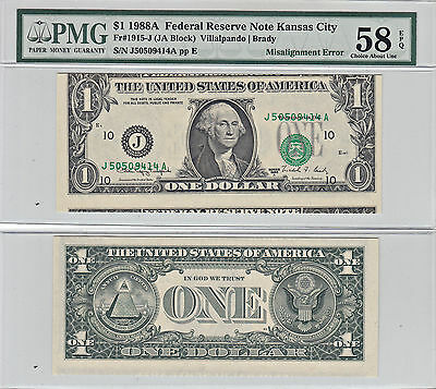1988-A $1 Misalignment Error Note F-1915-J PMG Choice AU-58 EPQ