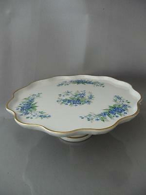 Antique Vtg Limoges Painted Blue Flowers Porcelain Footed Cake Plate Tray Stand