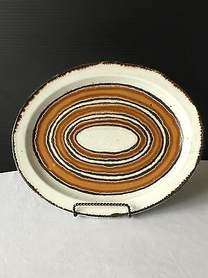 "Earth By Midwinter Stonehenge Brown Circles Oval Plate 12"" Platter"