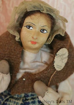 Antique French Ravca Cloth Doll w Tags, 9 IN, Antique Cloth Doll A/O