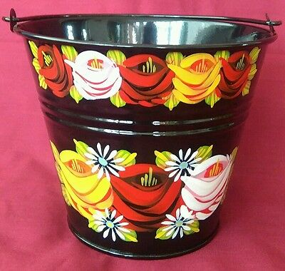 Small Canal ware / bargeware black bucket or planter.