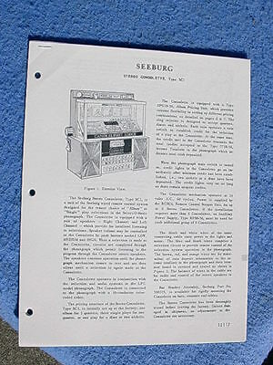 Seeburg wallbox SC1 Consolette wall box Service information (12117-12132)