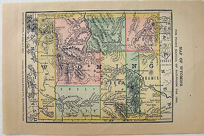 Original 1885 Railroad Map of Wyoming by Rand McNally