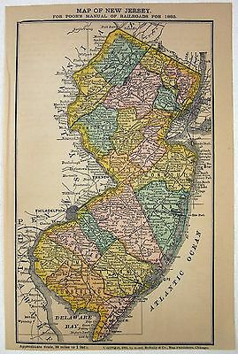 Original 1885 Railroad Map of New Jersey by Rand McNally