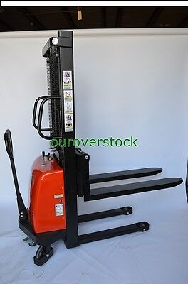 """Fork Over Manual Push Battery Lift Stacker 3,300 lb 63"""" lift height 27 x 45"""
