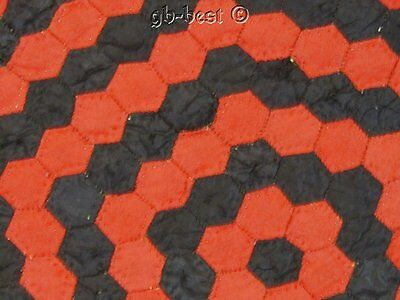 RARE c 1870/80s PA Honeycomb Antique Quilt RED Black Tiny Pieces 3/4""