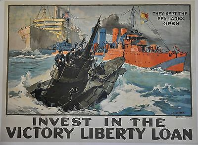 Original WWI They Kept The Sea Lanes Open Victory Liberty Loan Poster Linen #2