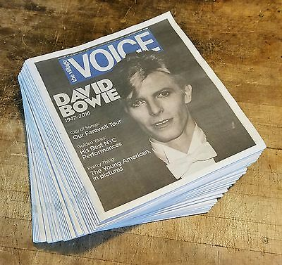 LOT of 34 David Bowie 1947-2016 Village Voice Vol LXI No 3 Tribute NYC Newspaper