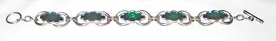 """8"""" Bracelet with Green Stones and Unusual Clasp"""