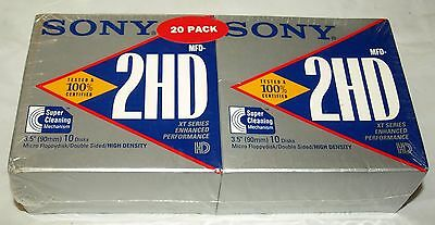 20 Sony 2HD 1.44MB 3.5 Double-Sided Floppy Diskettes Factory Sealed Never Opened