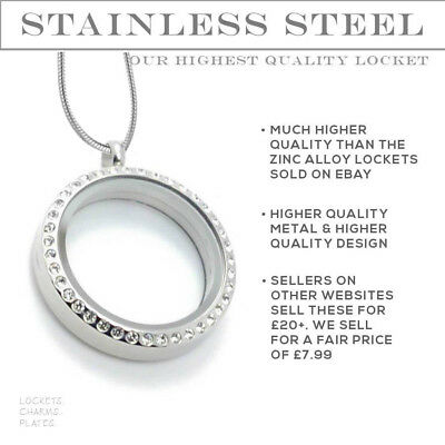 Stainless Steel Quality Memory Window Locket Necklace Chain Silver Crystal 30Mm