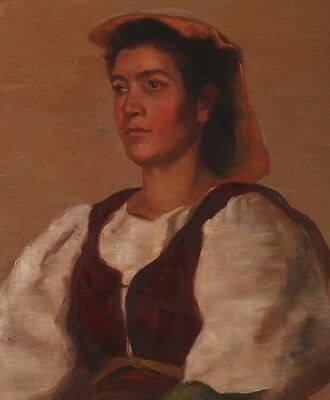 """Arpad Schmidhammer (1857-1921) Oil Painting on Canvas """"Portrait of a Woman"""""""