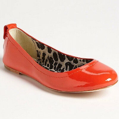 """COACH Orange Red Coral PATENT """"Anora"""" BALLET FLATS, Size 5"""