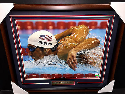 Michael Phelps Olympic Gold Medal Signed Autographed Framed 16X20 Photo Jsa Coa