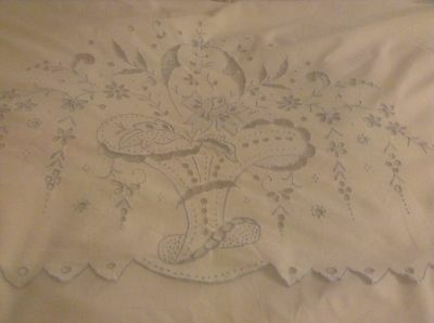 Vintage Large White With Turn Over Blue Embroidery Top Sheet