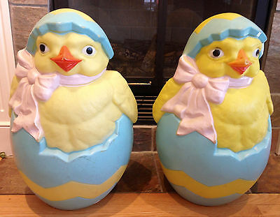 Pair of Vintage Hatching Chicks In Egg Blow Mold Outdoor Yard Easter Decor Peep