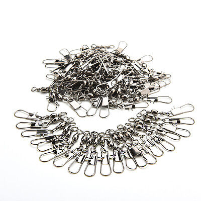 New 100pcs Barrel Swivel with Safty Snap Connector Solid Rings Fishing DH