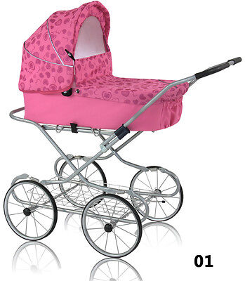 Retro style baby doll/toy pram with bedding set and basket for toys, pink