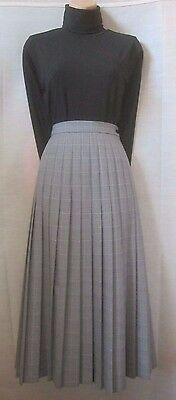 Vintage Wool Blend Prince of Wale Check Pleated High Waisted Midi Skirt 8 10