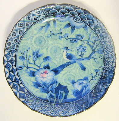 Antique Chinese Plate Small with Flowers and Bird 1850s Signed
