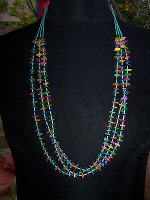 Southwestern Turquoise Multi Colored Colorful Heishi & Shell Strand Necklace